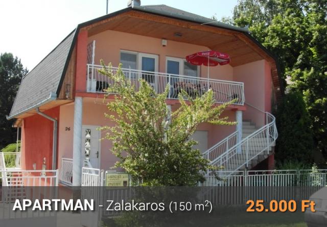 Zalakaros apartman 150m2 25000Ft